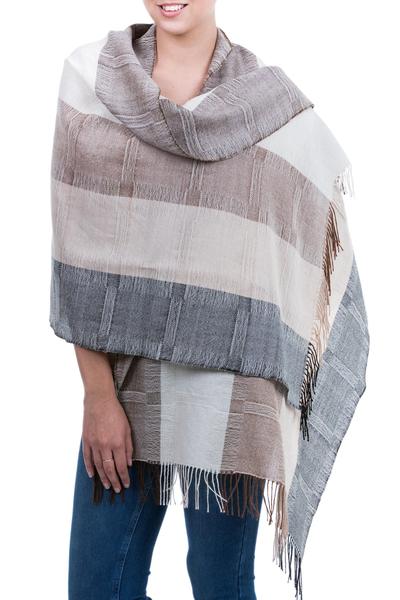 100% alpaca shawl, 'Quiet Atacama' - Unique Fine Alpaca Wool Neutral Color Shawl