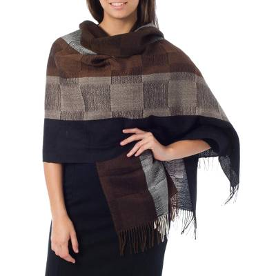 100% alpaca shawl, 'Andean Cocoa' - Handcrafted Women's Alpaca Wool Shawl