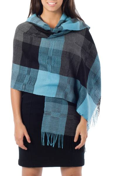 100% alpaca shawl, 'Andean Turquoise' - Alpaca Wool Patterned Multicolor and Blue Shawl
