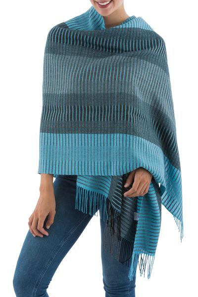 100% alpaca shawl, 'Turquoise Whisper' - Peruvian Alpaca Wool Patterned Shawl