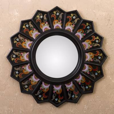 Reverse-painted glass wall mirror, 'Black Sunflower Fan' - Peruvian Reverse-Painted Glass Black Mirror