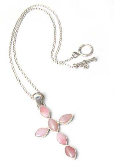 Opal cross necklace, 'Faith in Love' - Sterling Silver and Natural Pink Opal Cross Necklace