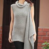 100% alpaca sweater, 'Arequipa Intrigue' - Peruvian Alpaca Wool Pullover Sweater