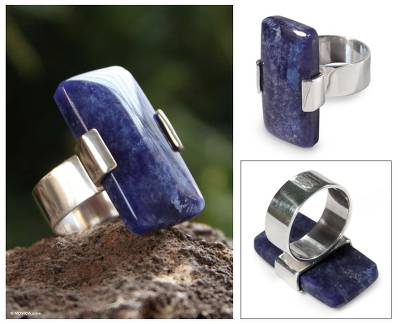 Sodalite cocktail ring, 'Blue Hug' - Unique Modern Sterling Silver Sodalite Cocktail Ring