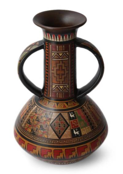 Cuzco vase, 'Splendor of the Inca' - Cuzco Ceramic Decorative Vase from Peru