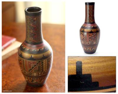 Cuzco vase, 'Inca Origins' - Fair Trade Cuzco Ceramic Earthtone Inca Vase
