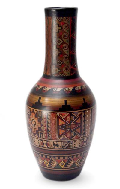 Cuzco vase, 'Inca Origins' - Fair Trade Cuzco Ceramic Earthtone Inca Vase