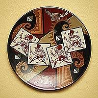 Decorative ceramic plate, 'Scissors Dance' - Hand Made Ceramic Decorative Plate