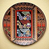 Cuzco decorative ceramic plate, 'Moche Protectors' - Cuzco Ceramic Decorative Plate from Peru