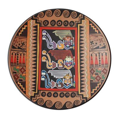 Cuzco decorative ceramic plate, 'Moche Protectors' - Cuzco Ceramic Decorative Plate from Peru