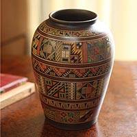 Aged Cuzco vase, 'Inca Fields' - Unique Cuzco Aged Ceramic Decorative Vase