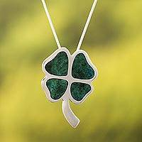 Chrysocolla pendant necklace, 'Good Luck Clover' - Handcrafted Floral Silver Chrysocolla Pendant Necklace
