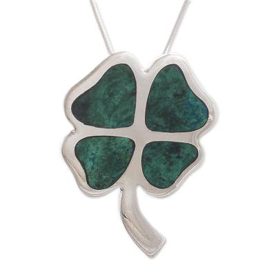 Chrysocolla pendant necklace, 'Good Luck Clover' - Handcrafted Floral Silver Chrysocolla Pendant Necklace