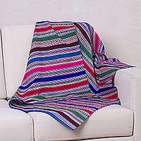 Woven throw, 'Tarma Rainbow' - Unique Woven Striped Throw