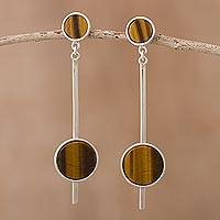 Tiger's eye dangle earrings, 'Inca Enigma' - Tiger's Eye and Silver Dangle Earrings