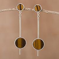Tiger's eye dangle earrings, 'Inca Enigma' - Tiger's Eye and Silver Dangle Earrings