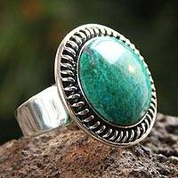 Chrysocolla cocktail ring, 'Moon Over Lima'