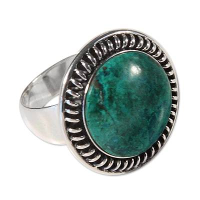 Silver and Chrysocolla Cocktail Ring