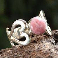 Rhodonite heart ring, 'Pink Love' - Handcrafted Heart Shaped Sterling Silver Rhodonite Ring