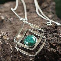 Chrysocolla pendant necklace, 'Modern Inca' - Handcrafted Sterling Silver Pendant Chrysocolla Necklace