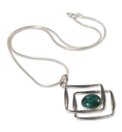 Handcrafted Sterling Silver Pendant Chrysocolla Necklace
