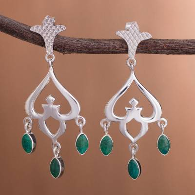 Chrysocolla chandelier earrings, 'Lima Empress' - Chrysocolla chandelier earrings