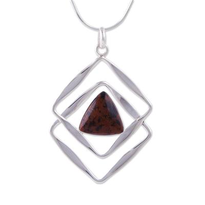 Mahogany obsidian pendant necklace, 'Modern Inca' - Mahogany obsidian pendant necklace