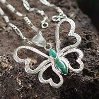 Chrysocolla heart necklace, 'Love Butterfly' - Heart Shaped Silver Chrysocolla Butterfly Pendant Necklace