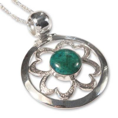 Heart Shaped Sterling Silver Pendant Chrysocolla Necklace