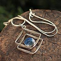 Lapis lazuli pendant necklace, 'Modern Inca' - Sterling Silver Abstract Pendant with Lapis Lazuli Setting