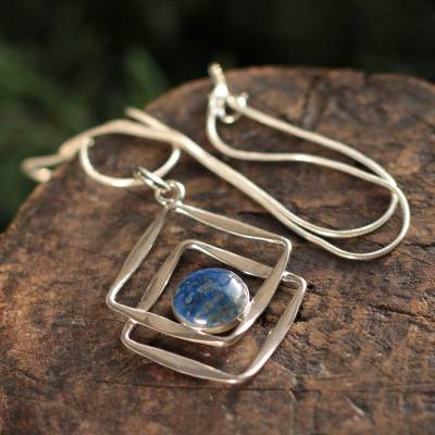 Lapis lazuli pendant necklace, 'Modern Inca' - Sterling Silver Pendant Lapis Lazuli Necklace