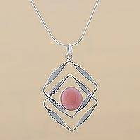 Rose quartz pendant necklace, 'Modern Inca' - Modern Sterling Silver Pendant Rose Quartz Necklace