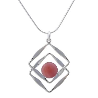 Rose quartz pendant necklace, 'Modern Inca' - Modern Sterling Silver Pendant Rose Quartz Necklace