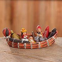 Ceramic nativity scene, 'Born in a Canoe' - Unique Ceramic Nativity Scene Set in a Canoe