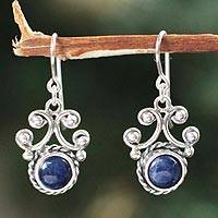 Sodalite dangle earrings, 'Light of Peace' - Sodalite dangle earrings