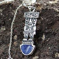 Sodalite pendant necklace, 'Inca Tumi' - Fair Trade Sterling Silver and Sodalite Necklace