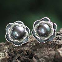 Cultured pearl flower earrings, 'Black Rose' - Fine Silver and Cultured Black Pearl Rose Button Earrings
