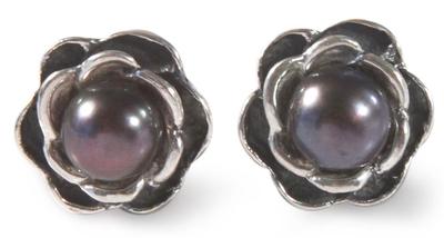 Cultured pearl flower earrings, 'Black Rose' - Cultured Black Pearl And .950 Silver Rose Stud Earrings