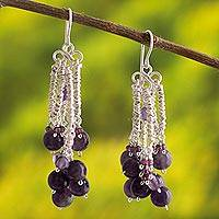 Amethyst and garnet chandelier earrings, 'Mystical Light' - Handcrafted Amethyst and Garnet Chandelier Earrings