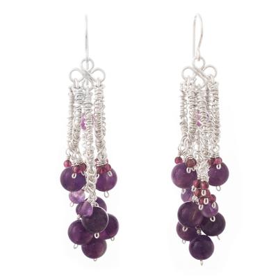 Amethyst and garnet chandelier earrings