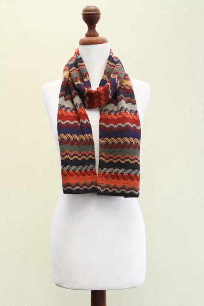 100% alpaca scarf, 'Lavish Winter' - Alpaca Wool Striped Scarf