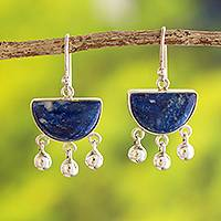 Lapis lazuli dangle earrings, 'Beautiful Universe'