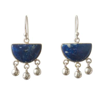 Lapis lazuli dangle earrings, 'Beautiful Universe' - Sterling Silver Dangle Lapis Lazuli Earrings