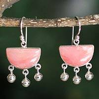 Rose quartz dangle earrings, 'Beautiful Universe' - Rose Quartz .925 Sterling Silver Handmade Earrings