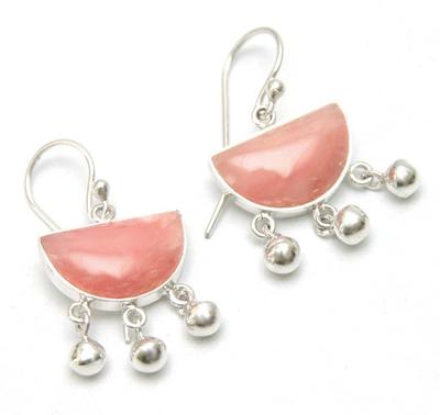 Opal dangle earrings, 'Beautiful Universe' - Pink Opal .925 Sterling Silver Handmade Earrings