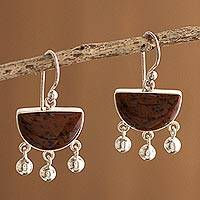 Mahogany obsidian dangle earrings, 'Beautiful Universe' - Sterling Silver Obsidian Chandelier Earrings