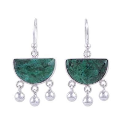 Hand Made Sterling Silver Chrysocolla Dangle Earrings