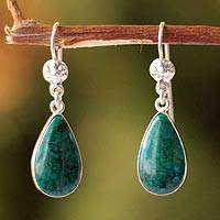 Chrysocolla dangle earrings, 'Inca Aesthetic' - Hand Made Sterling Silver and Chrysocolla Dangle Earrings