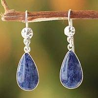 Sodalite dangle earrings, 'Inca Aesthetic' - Sterling Silver Sodalite Dangle Earrings