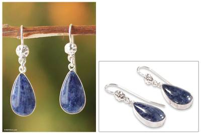 Sodalite Dangle Earrings Inca Aesthetic Sterling Silver
